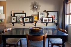 dining room art/photo shelf