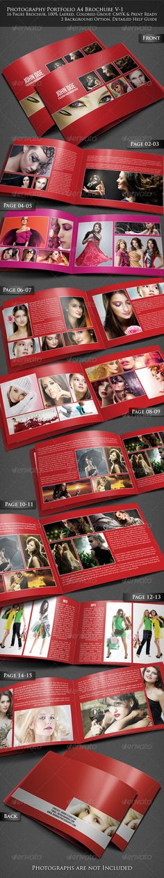 Photography Portfolio A4 Brochure  #GraphicRiver           A4 Size (297×210)mm   Bleed & Safe Area Included   3mm Bleed Included   Photoshop Guide Included   Vector Shaped Frames   Changeable Background & Color   Free But Commercial type Font Used   Detailed Help Guide Included   16 Pages Brochure   Unique Layout for All Pages   100%