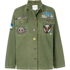 Mira Mikati Jacket With Field Scout Patches (1.535 RON) ❤ liked on Polyvore featuring outerwear, jackets, tops, green, patch jacket, mira mikati and green jacket