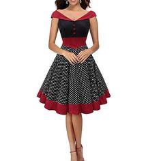 Womens Fashion Elegant Polka Dot ...