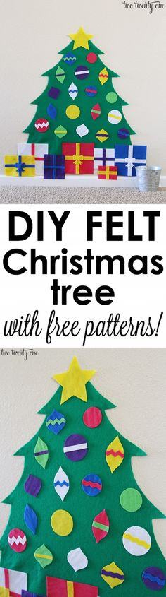 Felt Christmas Tree + FREE Patterns How to make a felt Christmas tree! Plus, free patterns!<br> Step by step tutorial showing how to make a felt Christmas tree! Plus, free templates for creating your own felt Christmas tree for your child! Diy Felt Christmas Tree, Preschool Christmas, Toddler Christmas, Christmas Crafts For Kids, Christmas Activities, Christmas Projects, Winter Christmas, Holiday Crafts, Holiday Fun
