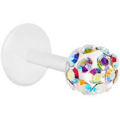 18 Gauge Bioplast Aurora Austrian Crystal Ferido Ball Tragus Earring