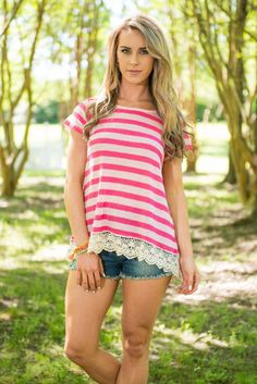Stripes In All The Right Places Top, Fuchsia  || We are loving this striped top! Not only for it's stripes and color but also for it's comfort! This top is so soft and breathable! The fabric is mainly cotton so you know it's perfect for summer! Plus, it has a totally trendy crochet trim! This casual top basically has it all!