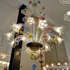 Fratelli Toso (circa 1930s)  multi-fiori (flowers) Murano glass chandelier | The Decorating Diva, LLC
