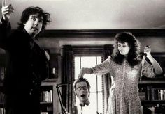 Tim Burton and Geena Davis behind the scenes of 'Beetlejuice' (1988)
