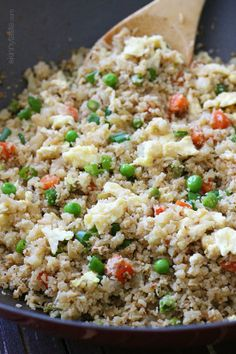 """Cauliflower """"Fried Rice"""": instead of sesame oil (not one of the """"healthy"""" oils) use canola or olive oil (= tsp. healthy oil per serving of recipe) OR count for sesame oil. Pat suggests possibly adding shrimp, chicken, beef, or pork. Rice Recipes, Vegetable Recipes, Low Carb Recipes, Vegetarian Recipes, Cooking Recipes, Healthy Recipes, Dishes Recipes, Healthy Cooking, Cauliflowers"""