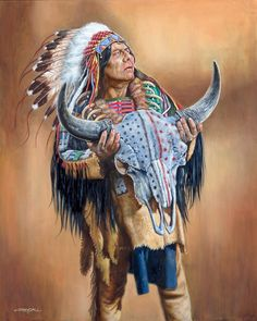 Sacred Skull oil by Jerry Crandall - Western Art - Original Paintings Native American Warrior, Native American Paintings, Native American Pictures, Native American Wisdom, Native American Beauty, Native American Artists, American Indian Art, Indian Paintings, Native American History