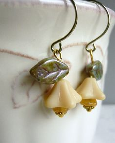 Floral Earrings Creamy Beige and Spruce Drop by 3pearls on Etsy
