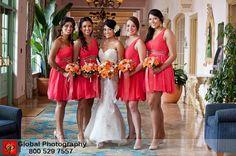Bridesmaids in coral dresses!
