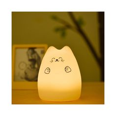 Touching Cat Cartoon USB Charging LED Ombre Night Light ($13) ❤ liked on Polyvore featuring home, lighting, cat night light, comic book lamp, cat night lights and ombre lamp