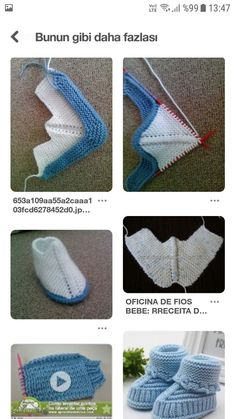 How To Make Booties With Bow - Crochet Or Knit - Salvabrani - Salvabrani Armağan Cansabuncu's media statistics and analytics Gestrickte Booties, Knitted Booties, Knitted Slippers, Knitted Hats, Crochet Baby Shoes, Knit Crochet, Crochet Hats, Baby Hats Knitting, Baby Knitting Patterns