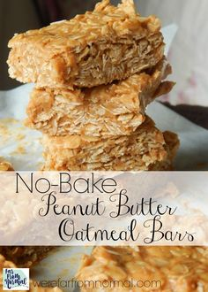 These no-bake peanut butter oatmeal bars have such a simple recipe, you probably have all the ingredients in your pantry right now! Great for an afterschool snack or even breakfast! Oatmeal Bars Healthy, No Bake Oatmeal Bars, Peanut Butter Oatmeal Bars, Peanut Butter Breakfast, Peanut Butter Snacks, Peanut Butter No Bake, Homemade Peanut Butter, No Bake Bars, Oatmeal Snack Recipe