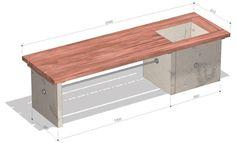 Bank aus Betonplatten mit Pflanzkübel