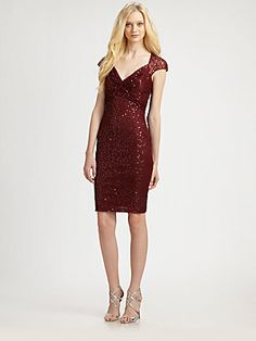 David Meister Sequin Lace Cap Sleeve Cocktail Dress #MillionDollarShoppersGianna