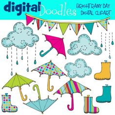INSTANT DOWNLOAD Bright Rainy Day digital clip art by kpmdoodles <3