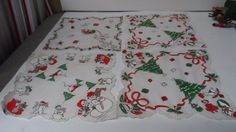 8 Vintage Unused Christmas Hankies in Orig Box with Price Tags