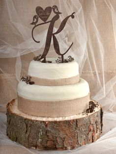 Rustic Cake Topper Wood Cake Topper Monogram by forlovepolkadots.Ashlyn, I think the plank is a little too thick, but doesn't it look great. Your stuff is gonna look amazing! Bird Cake Toppers, Love Cake Topper, Vintage Cake Toppers, Rustic Wedding Cake Toppers, Wedding Rustic, Rustic Weddings, Indian Weddings, Small Wedding Cakes, Cake Wedding