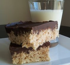 Easy peanut butter and chocolate rice krispie treats.