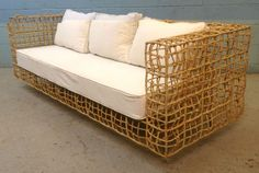 Kenneth Cobonpue Yin Yang Rattan Sofa Vintage Mid Century Modern Couch