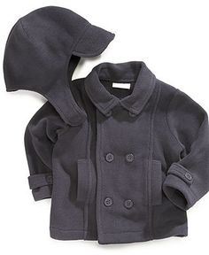 Boys Two Piece Pea Coat Mid-Weight Fleece Jacket and Hat Set for Fall//Winter