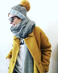 Cozy winter layers. Mustard yellow. Women's outfit idea. Nickichicki Lucky Star Beanie.