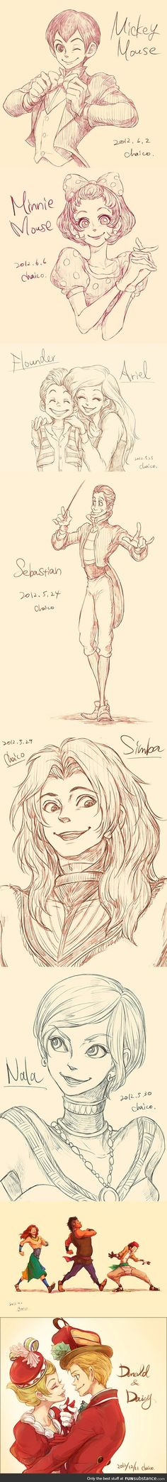 If Disney's Animal Characters Were Drawn As Humans...