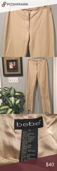 """BeBe Authentic 100% Leather Pants Straight leg New condition, never worn or altered, Sz 6. Inseam 31"""", rise 8"""" front zip close bebe Pants Straight Leg"""