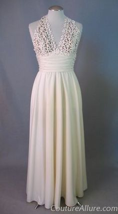 Vintage 70s Nude Illusion Halter Wedding Evening Dress Small   #vintage #vintage dress #wedding