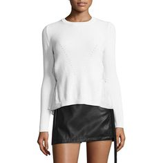 NO. 21 Women's Tiered Rib-Knit Sweater ($695) ❤ liked on Polyvore featuring tops, sweaters, apparel & accessories, cut out back sweater, white long sleeve top, white pullover sweater, long sleeve sweater and white pullover