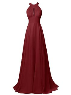 312df7ba55b0 Alagirls Long Halter Chiffon Bridesmaid Dress Sexy Backless Prom Dress at Amazon  Women s Clothing store