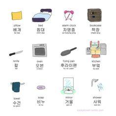 Learning Korean household More - Korean Slang, Korean Phrases, Korean Words Learning, Korean Language Learning, Learn To Speak Korean, Korean English, English English, English Grammar, Learn English