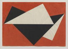 Hermann Glockner, Dreieckige Erhebungen auf Rot, Komposition 1960