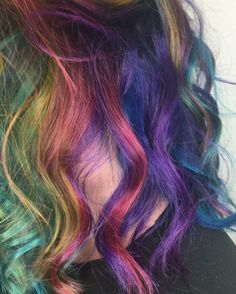 rainbow hair close-up | See this Instagram video by @chelraerae • 59 likes