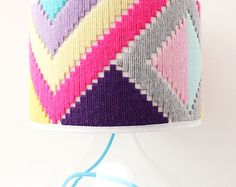 Colourful hand woven round Lampshade - Geo Series in Sherbet Plastic Canvas Stitches, Plastic Canvas Patterns, Weaving Loom Diy, Hand Weaving, I Love Lamp, Diy Chandelier, Bargello, Textiles, Diy Arts And Crafts