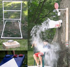 Homemade outdoor games: dunk bucket, hillbilly golf, ring toss, and corn hole