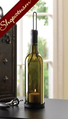 Olive Green Glass Wine Bottle Candle Holder Centerpiece