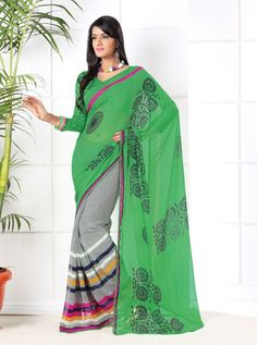 #Black & Green Colour Printed #Saree  Black & Green ,printed fashion saree, has contrast print detail along the borders Comes with a blouse piece.Length: 5.5 metres plus 0.80 metre blouse piece. Available in 35% Discount @aimdeals