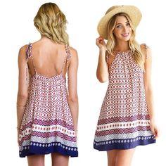 Fashion Women Boho Dress Summer loose Printed Halter Style Sleeveless Hippie Mini Dress Plus Size Women Clothing Vestidos Beige