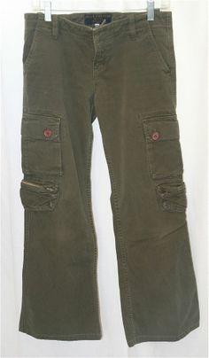 Juicy Couture Green Cargo Jeans Pants Low Rise Sz 29 100% Cotton