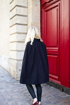 Black cape and burgundy Tod's / In my ballerines