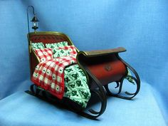 Miniature Sleigh Made Almost Entirely From Card Stock from Kris of 1 Inch Minis #dollhouse