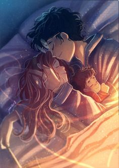 Featuring James Potter, Lily Evans, and baby Harry Potter. Harry Potter Anime, Harry Potter Fan Art, Memes Do Harry Potter, Images Harry Potter, Harry Potter Drawings, Harry Potter Ships, James Potter, Harry Potter Fandom, Harry Potter World