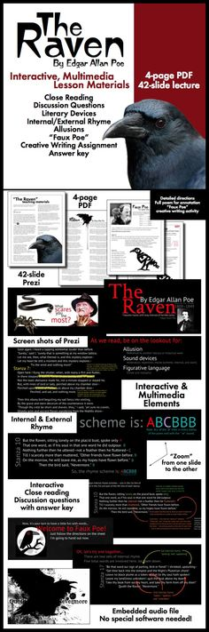 """Use interactive, multimedia materials to pull your students into Edgar Allan Poe's classic tale of lost love, """"The Raven."""" Click here to see a fresh approach to lecturing that will have your students on the edge of their seats."""