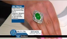 Estate 7.09 ct Green Jade Cabochon Oval & 4.12 ctw White Diamond PLATINUM  Ring Approx.Wt. Size 6  If you love being surrounded by exquisite jewelry then this is your dream destination. Gem Shopping Network is the most exquisite viewing experience on TV. Now available on live streaming and on apps.