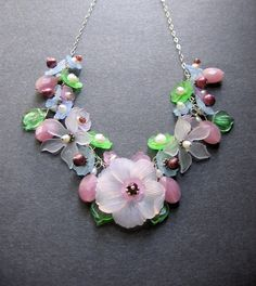 Flower Necklace. Lucite Flower Necklace. by SimpleElementsDesign, $85.00