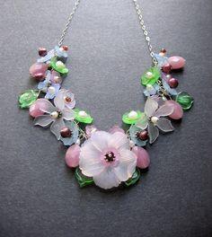 Flower Necklace. Lucite Flower Necklace. OOAK Necklace. Flower Statement Necklace - Elisabeth maybe wire crochet chain for floweres