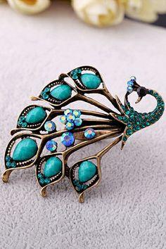 Jewel Embellished Peacock Ring OASAP.com