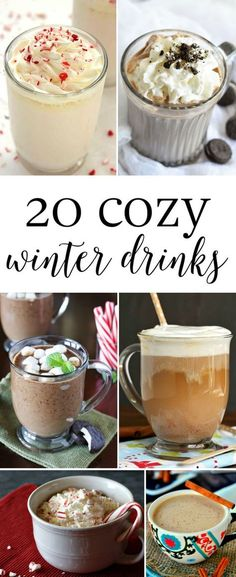 20 Cozy Winter Drinks-A fun list of 20 cozy winter drinks, so you never run out of delicious options during the cold winter season. 20 Cozy Winter Drinks-A fun l Christmas Drinks, Holiday Drinks, Fun Drinks, Yummy Drinks, Holiday Recipes, Yummy Food, Winter Recipes, Party Drinks, Winter Christmas