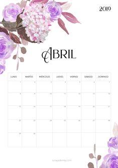 Calendario para imprimir Abril 2019  #calendario #calendar #abril #april #flores #flowers #freebie #printable #imprimir Free Printable Calender, Printable Planner, Planner Stickers, Free Printables, Calendar Notes, 2019 Calendar, Calendar Ideas, Agenda Planner, Calendar Wallpaper