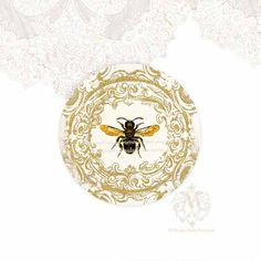 French Bee Sticker Vintage Style Gold Filigree by mulberrymuse, $2.45